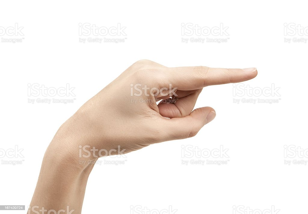 The letter G using American Sign Language stock photo
