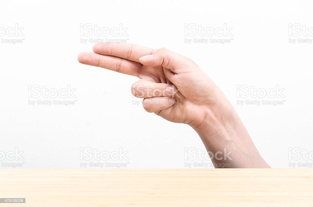 The letter H using American Sign Language stock photo