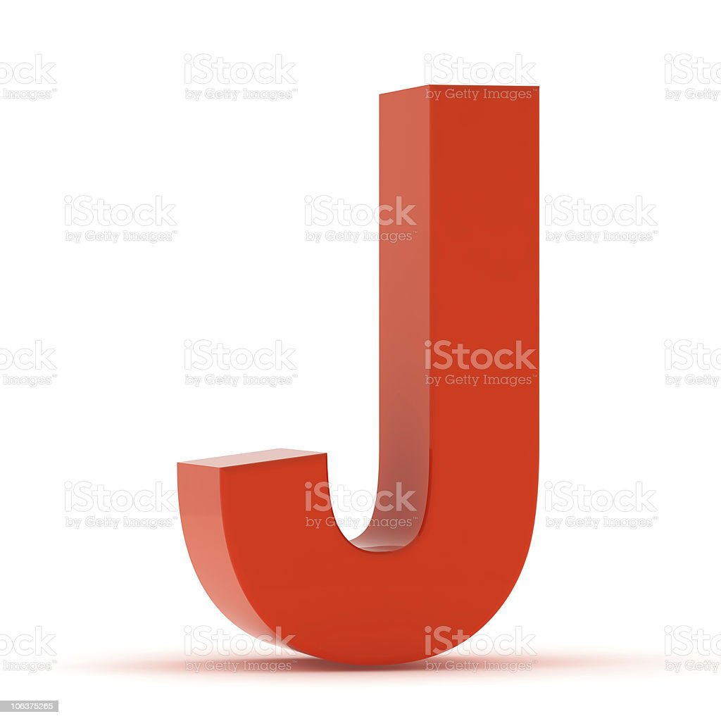 The Letter J - Red Plastic stock photo