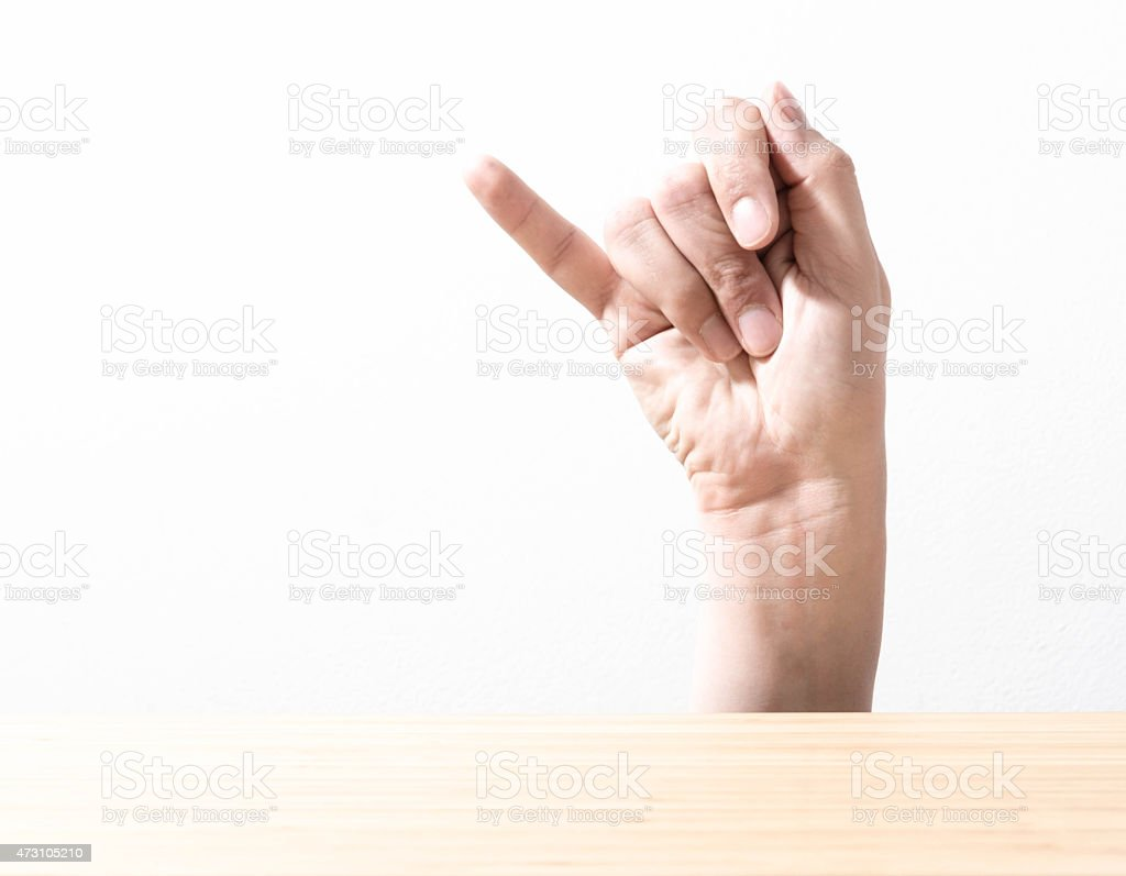 The letter J using American Sign Language stock photo