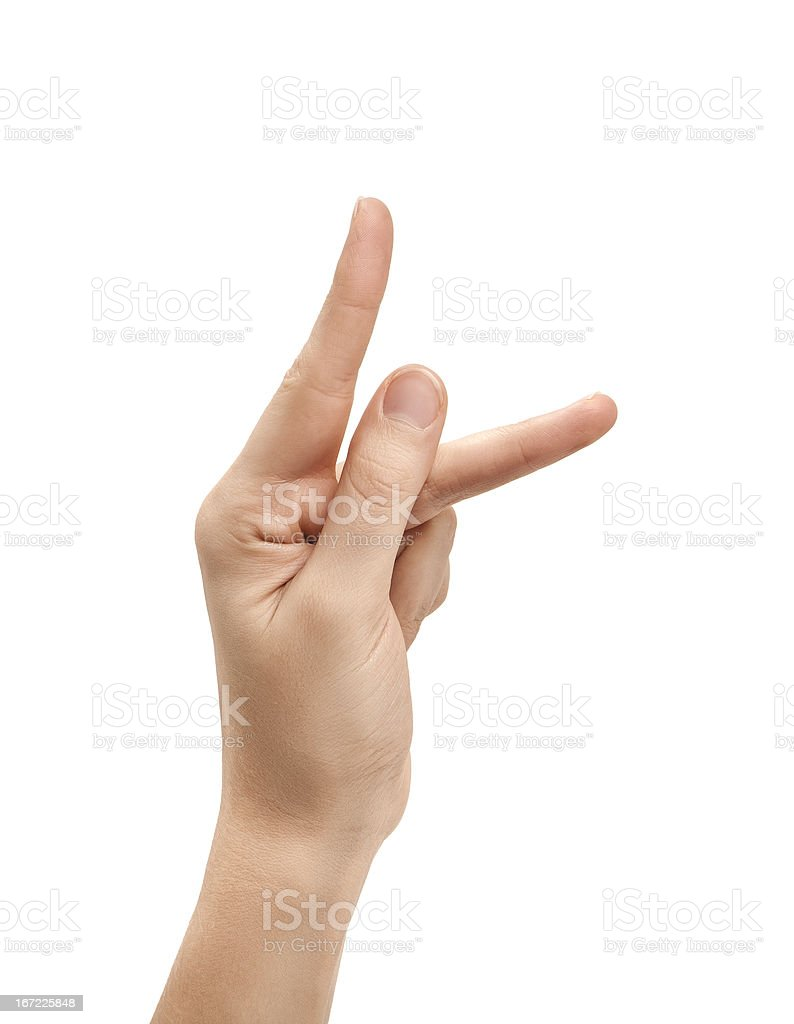 The letter K using American Sign Language stock photo