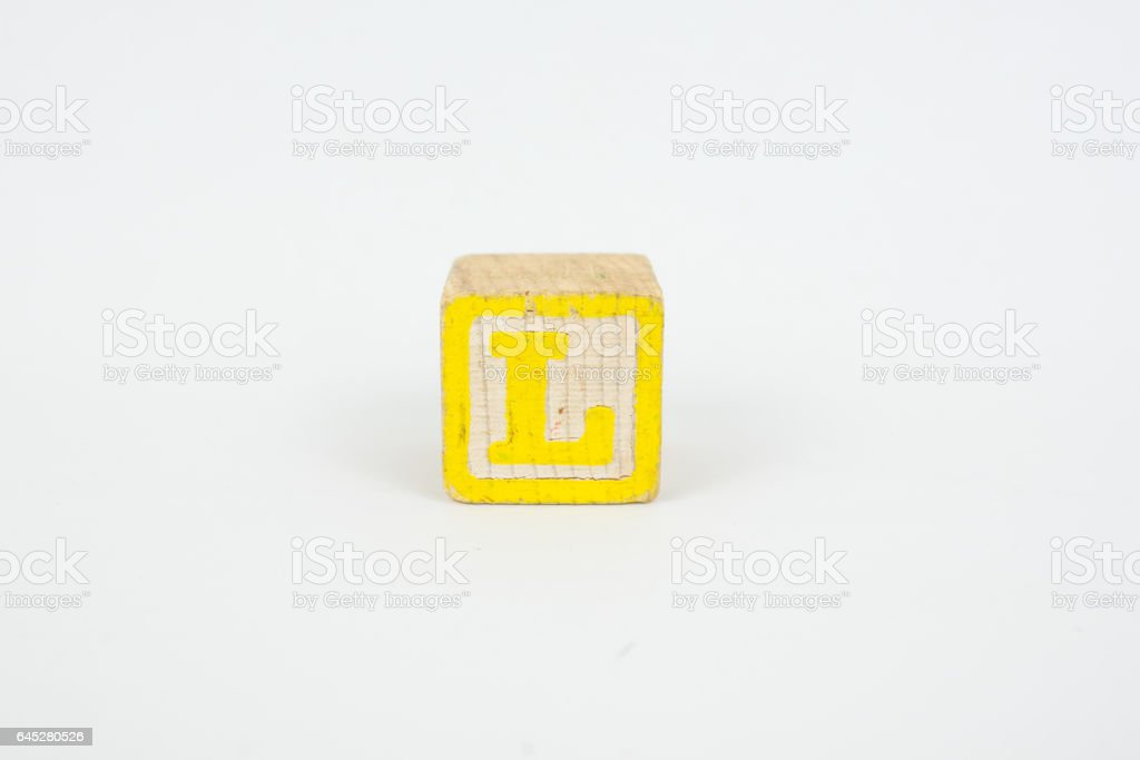 The Letter L in Colorful Wooden Children's Blocks stock photo