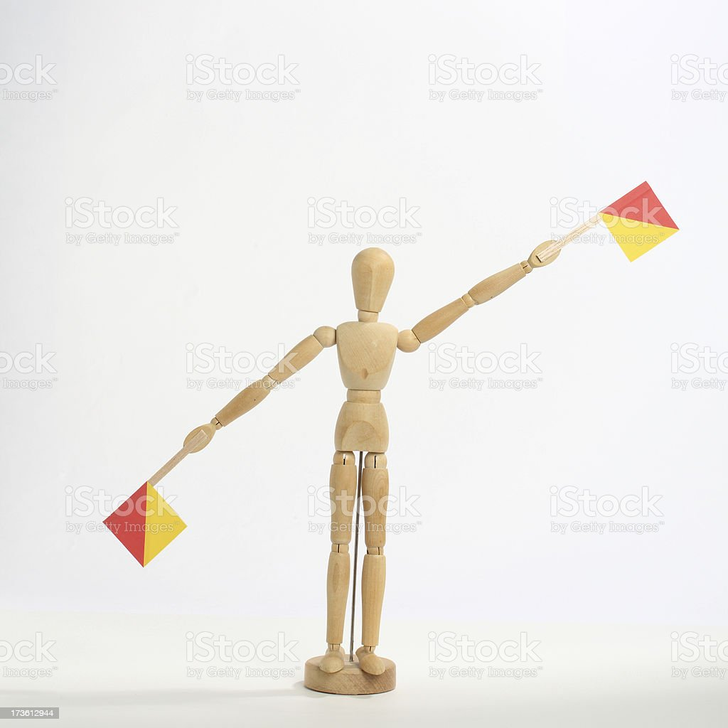 The letter 'L' in semaphore stock photo