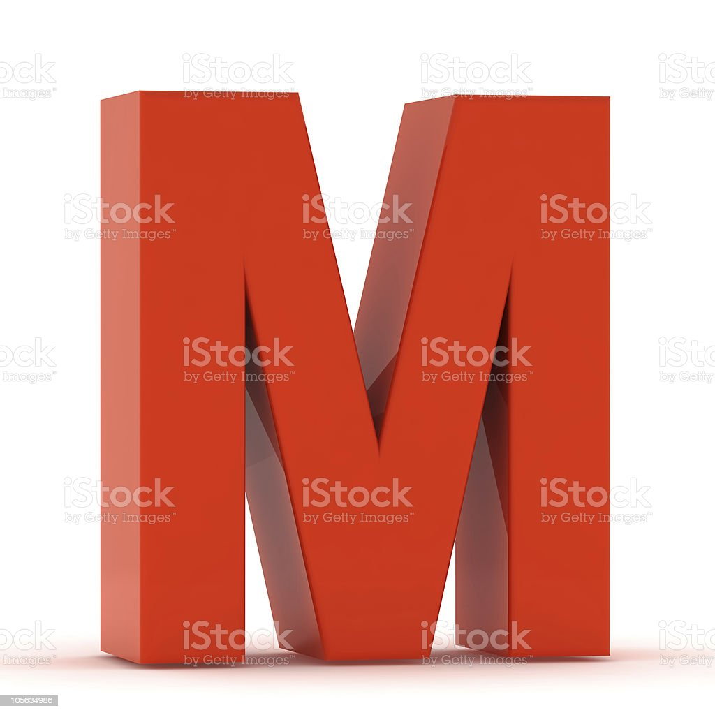 The Letter M - Red Plastic stock photo