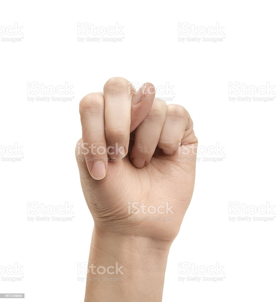 The letter N using American Sign Language royalty-free stock photo