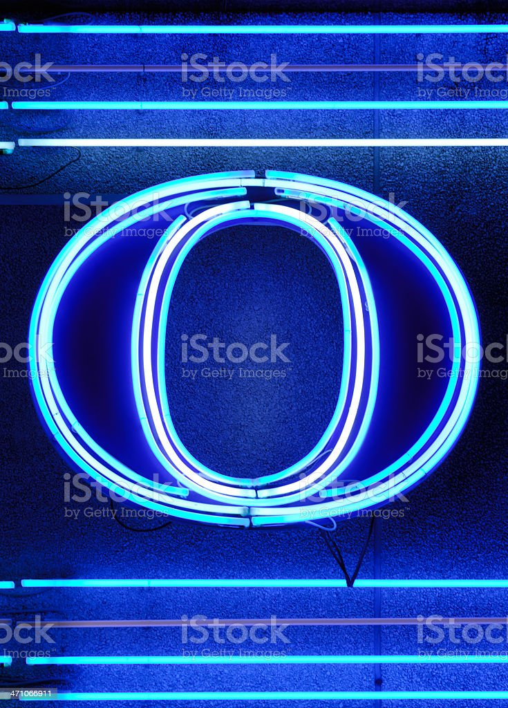 The letter 'O' in neon royalty-free stock photo