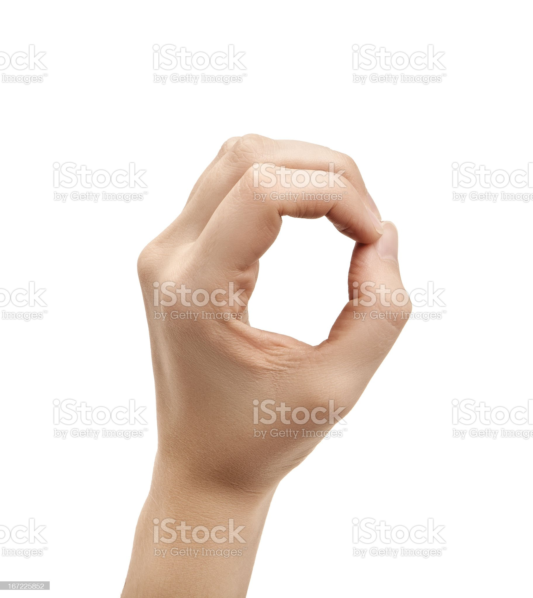 The letter O using American Sign Language royalty-free stock photo