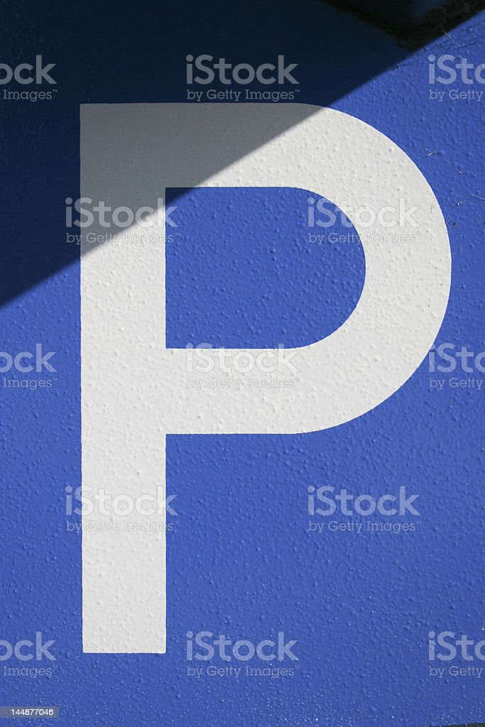 The letter P on a blue background. stock photo