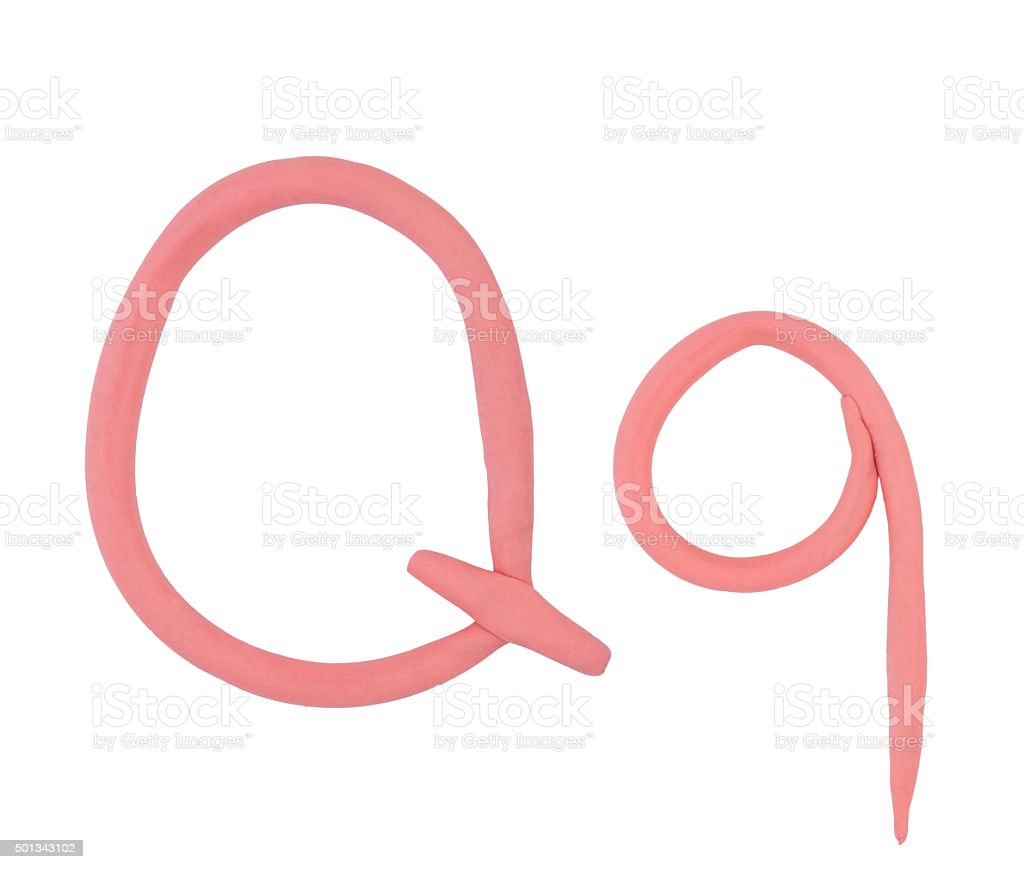 The letter 'Q' of plasticine on a white background. stock photo