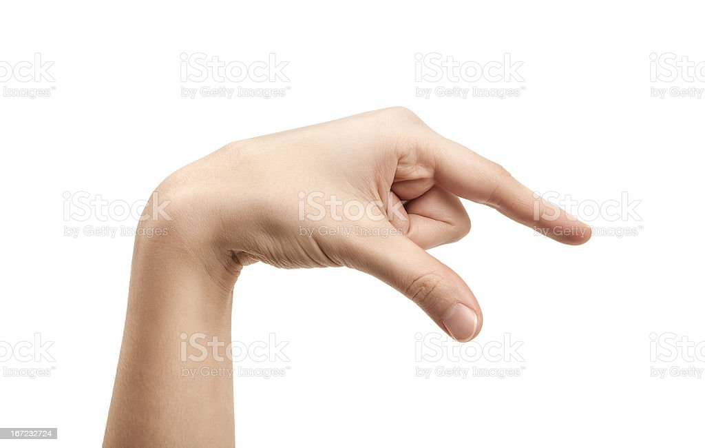 The letter Q using American Sign Language stock photo