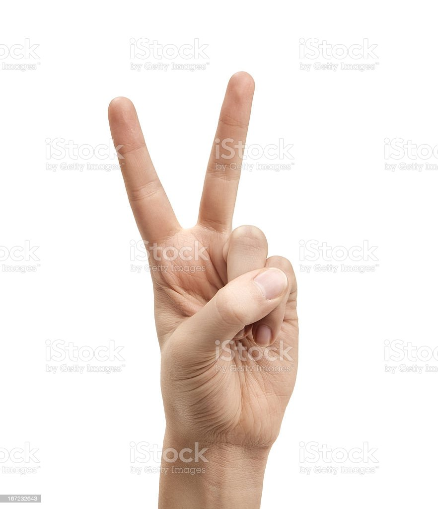 The letter V using American Sign Language stock photo