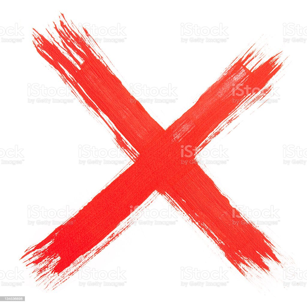 The letter X painted in red paint stock photo