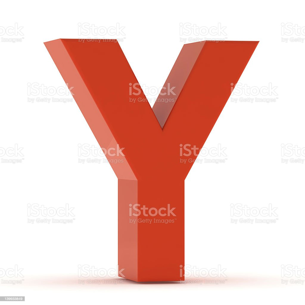 The Letter Y - Red Plastic stock photo