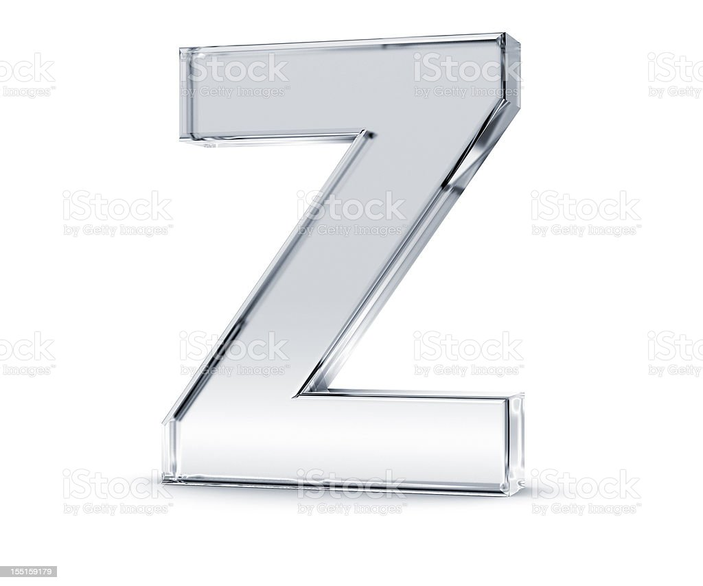The letter z made out of something clear stock photo