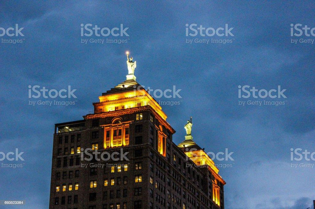 The Liberty Building at Night. Buffalo NY stock photo
