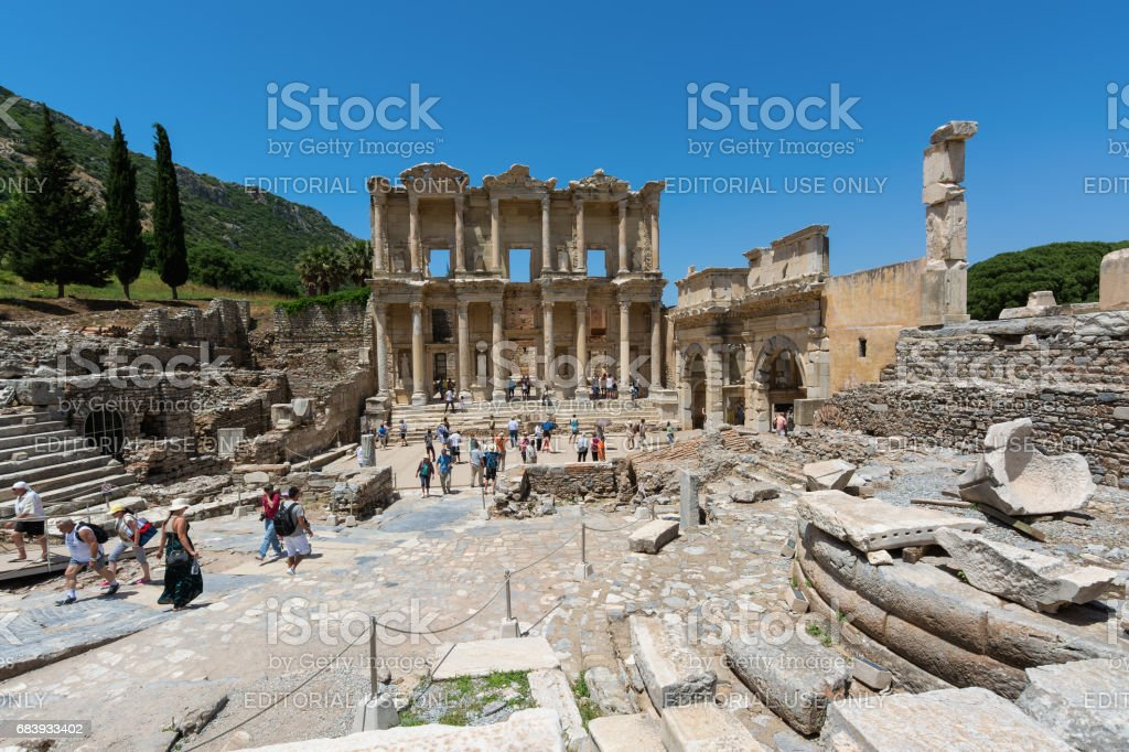 The Library of Celsus is an ancient Roman building in Ephesus, Anatolia, now part of Selcuk, Turkey. stock photo