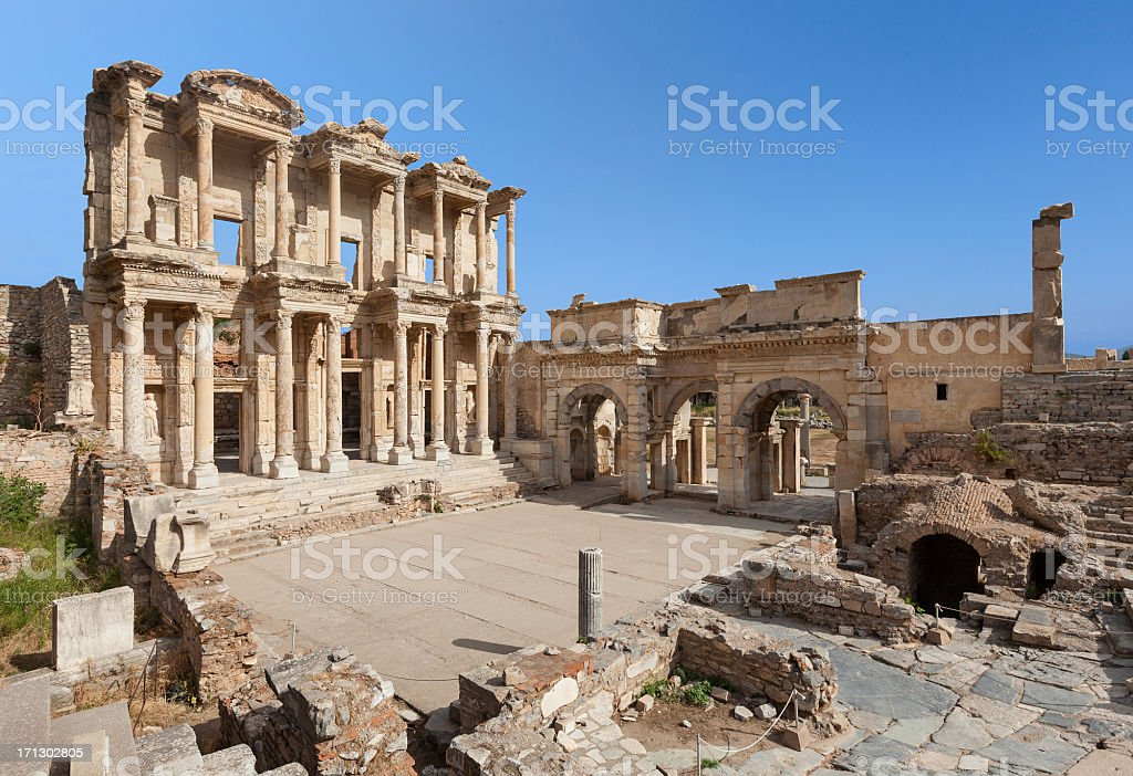 The Library of Celus, Ephesus, Turkey royalty-free stock photo
