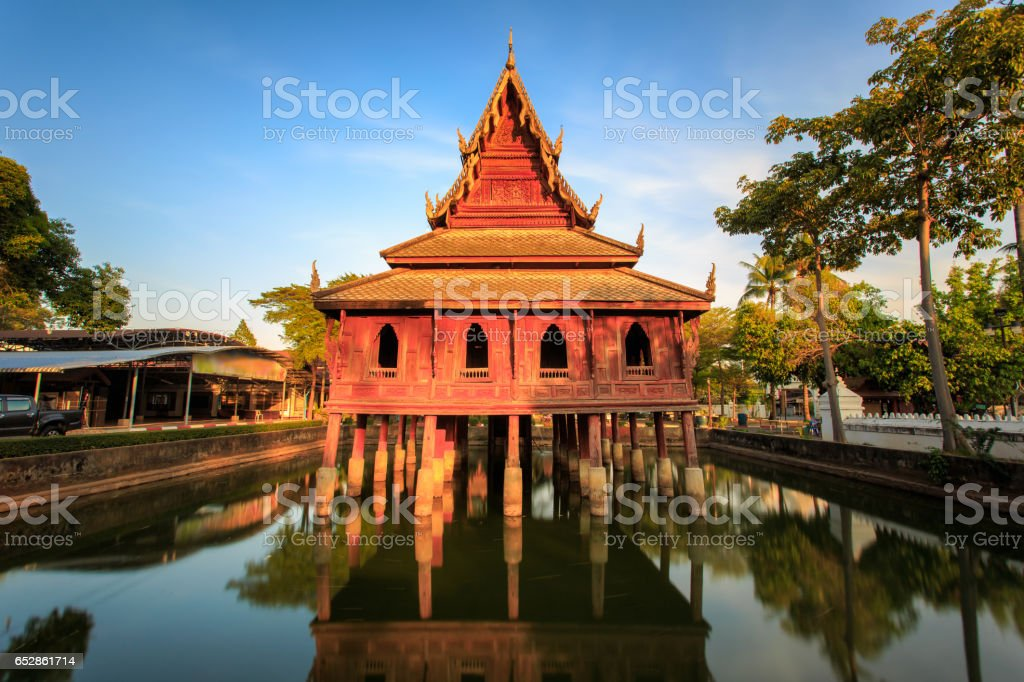The library on stilts in Wat Thung Si Muang temple in Ubon Ratchatani in Isan, north eastern Thailand. stock photo