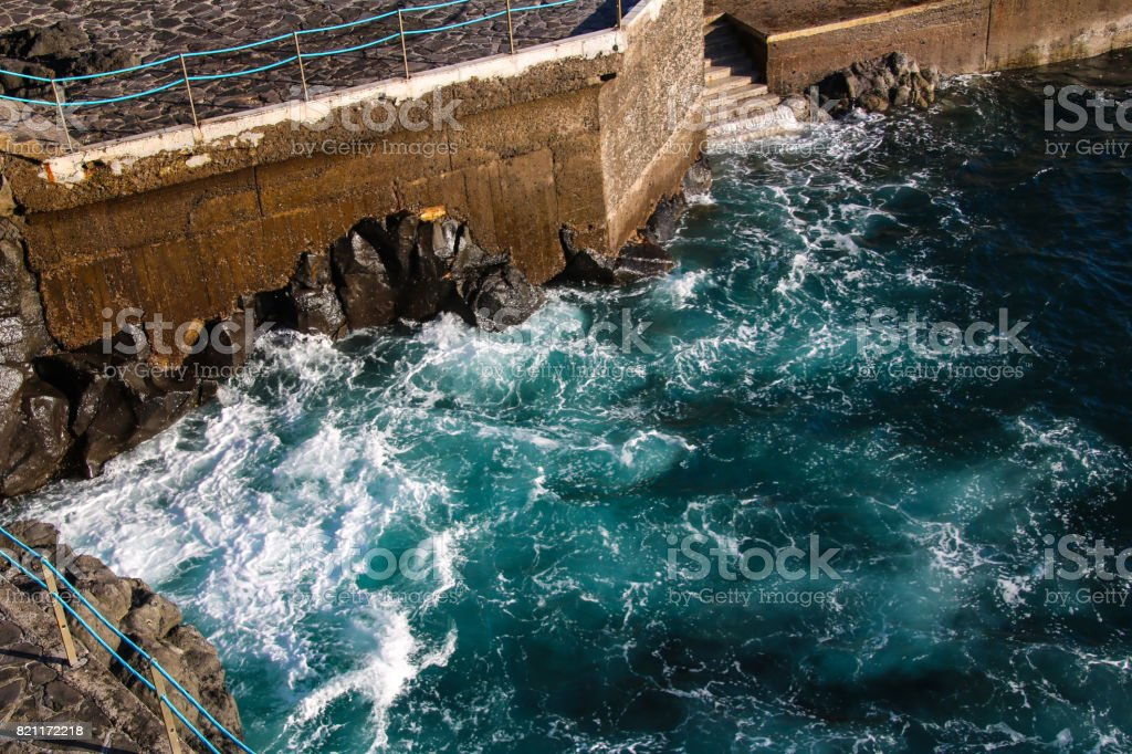 The lido promenade and front view of Funchal, Madeira stock photo