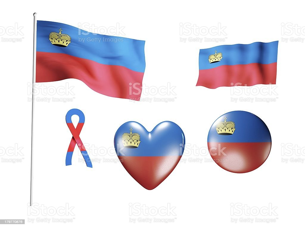 The Liechtenstein flag - set of icons and flags royalty-free stock photo