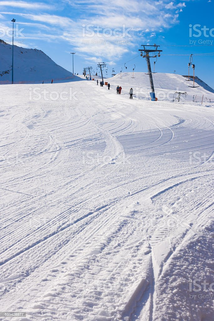 The lift at the ski slope. stock photo