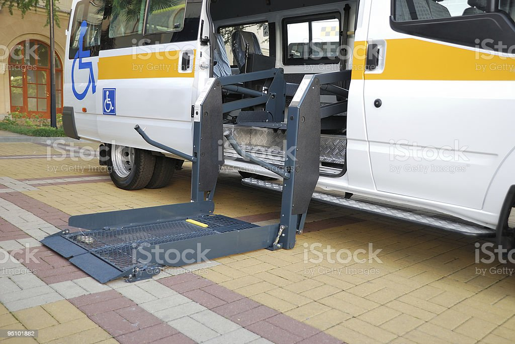 The lift for Wheelchair stock photo