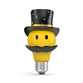 The light bulb in the hat and mustache