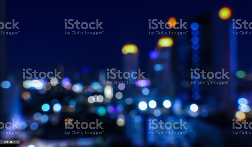 The light in night of city in blue abstract blur background bokeh. stock photo
