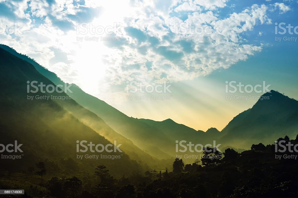 The light of sunrise stock photo