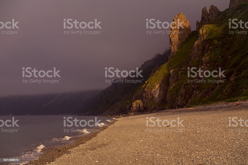 The light on the rocks. stock photo