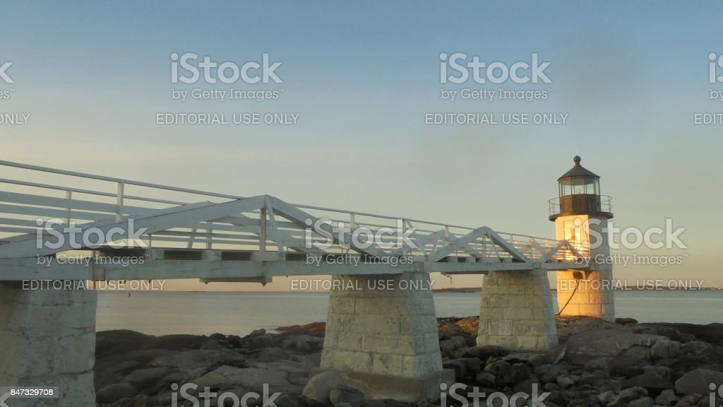 The Lighthouse at Dawn stock photo