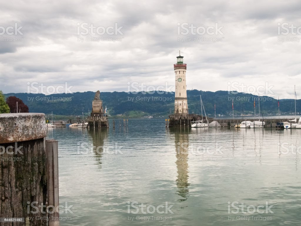 The Lighthouse at the entrance of Marina stock photo