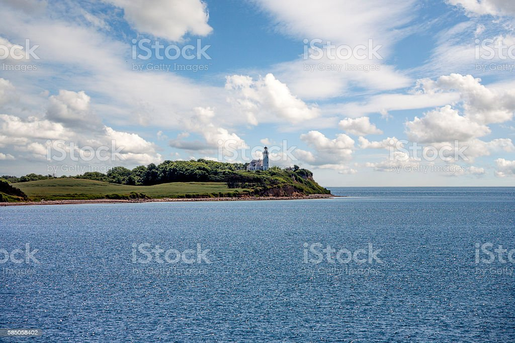The lighthouse at the islan Samsoe stock photo