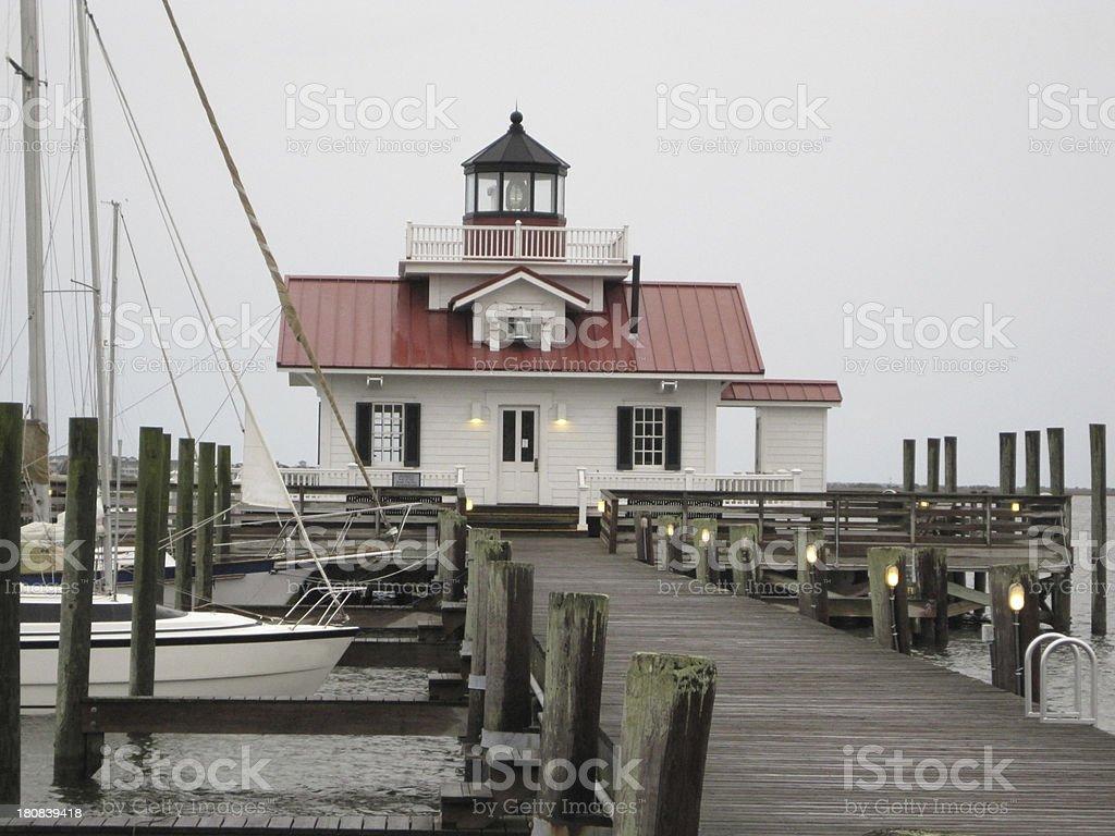 The Lighthouse in Manteo, Roanoke Island, NC stock photo