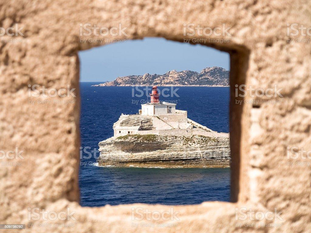 The Lighthouse of Bonifacio stock photo