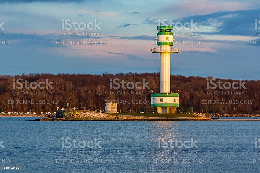 The lighthouse of Friedrichsort ( Kiel - Germany) during sunset stock photo