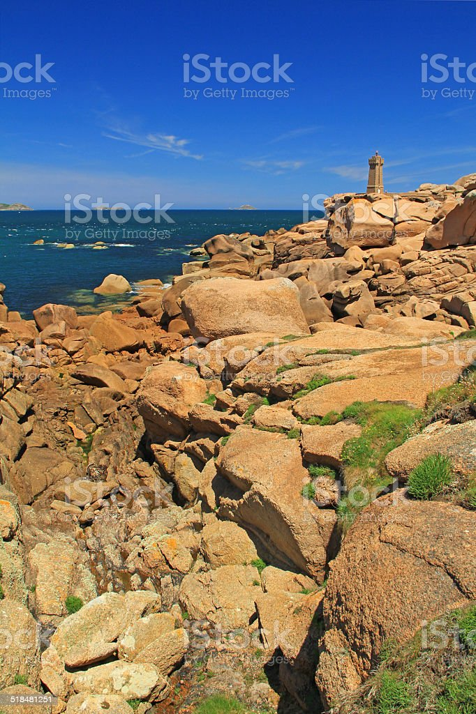 The lighthouse of Ploumanac'h. Brittany, France stock photo