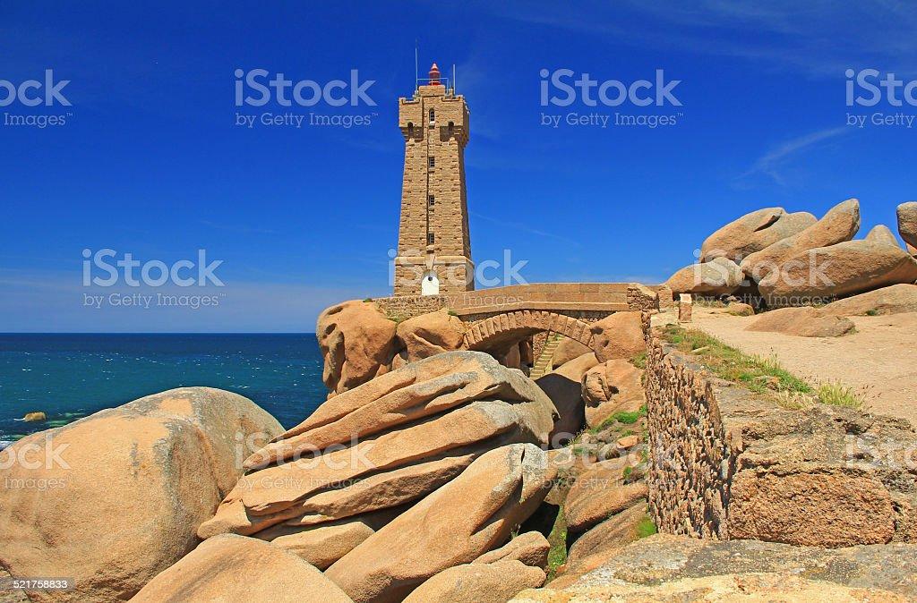 The lighthouse of Ploumanac'h, France stock photo