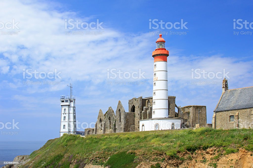 The Lighthouse of Saint Mathieu, Brittany, France stock photo