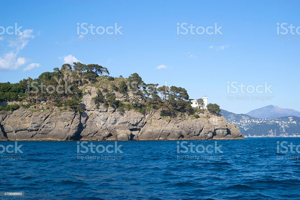 The Ligurian rocky coastline stock photo