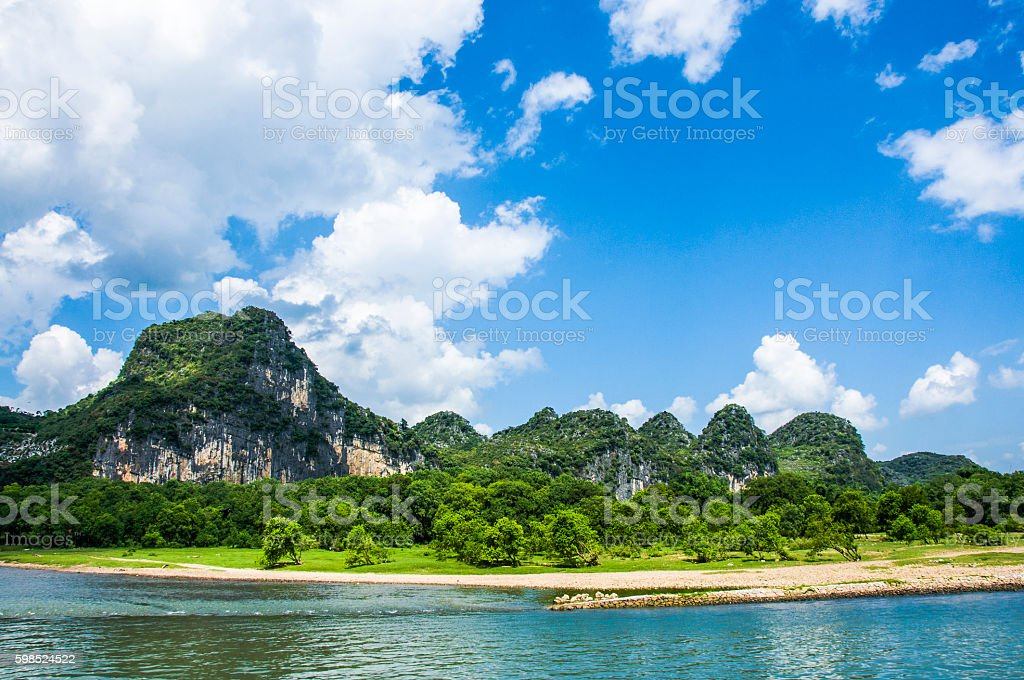 The Lijiang river and karst mountains scenery in autumn stock photo