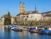 The Limmat river and the Limmatquai quay in Zurich