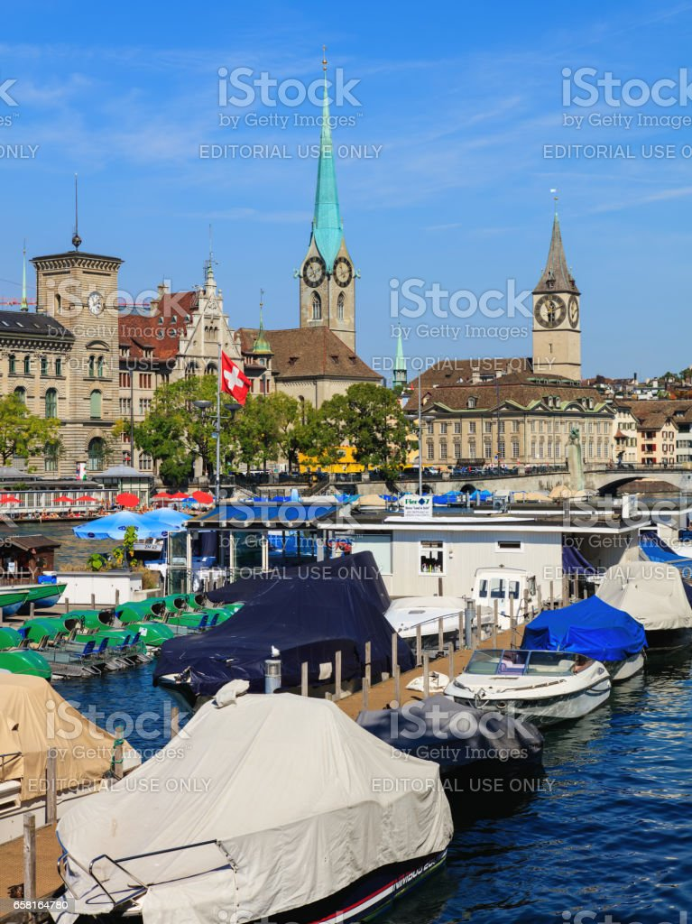 The Limmat river in the city of Zurich, Switzerland stock photo