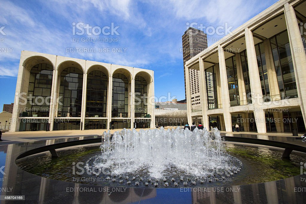 The Lincoln Center Plaza in NYC stock photo