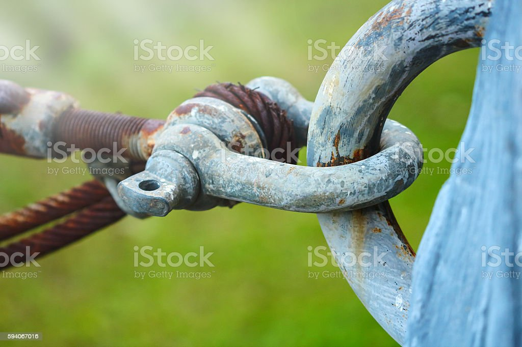 The link of the cable pulled. stock photo