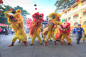 the lion dance ceremony of Chinese Vietnamese people in HCMC