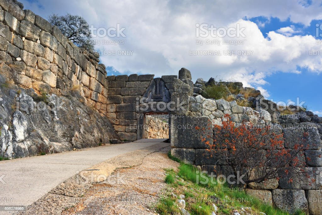 The Lion Gate in ancient Mycenae, Greece stock photo