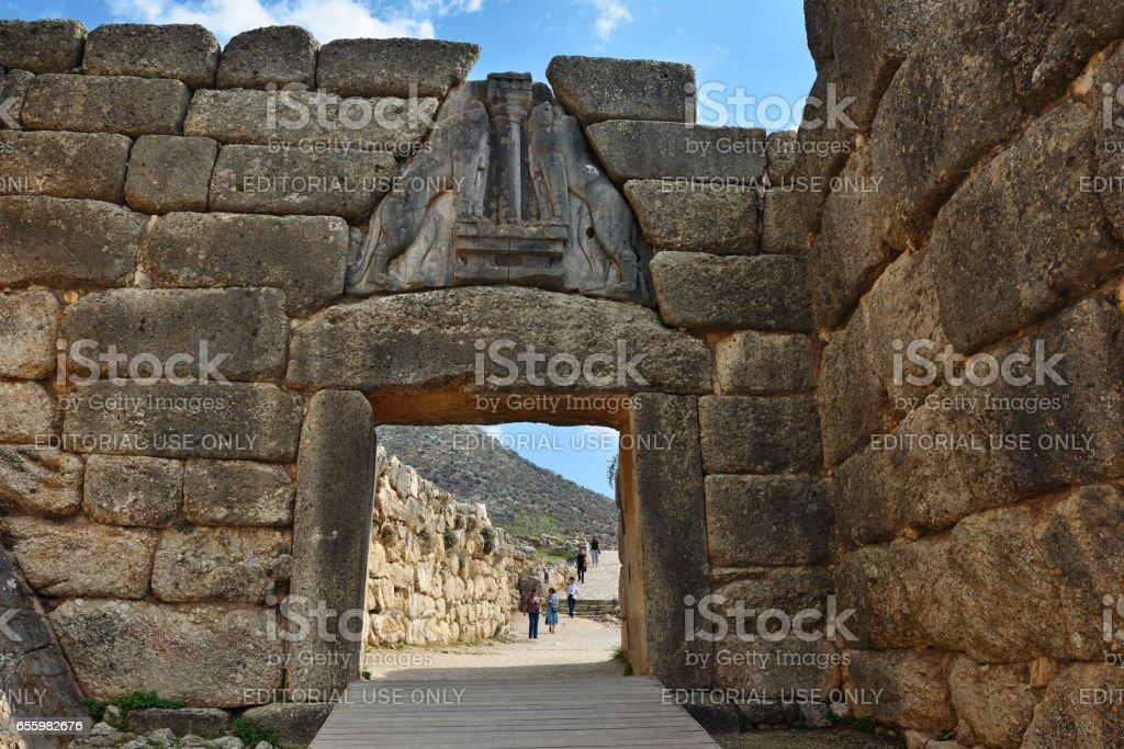 The Lion Gate in Mycenae, Greece stock photo