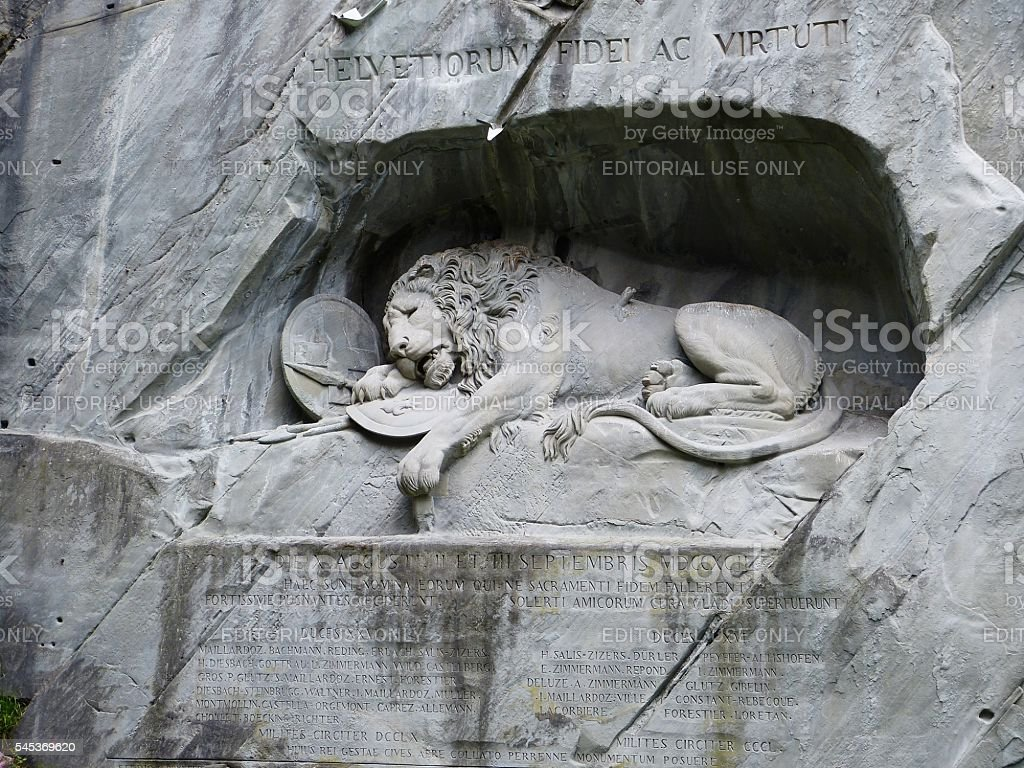 The Lion monument in Lucerne stock photo