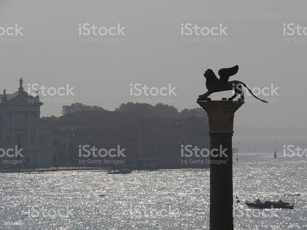 The lion of St. Mark's square, Venice stock photo